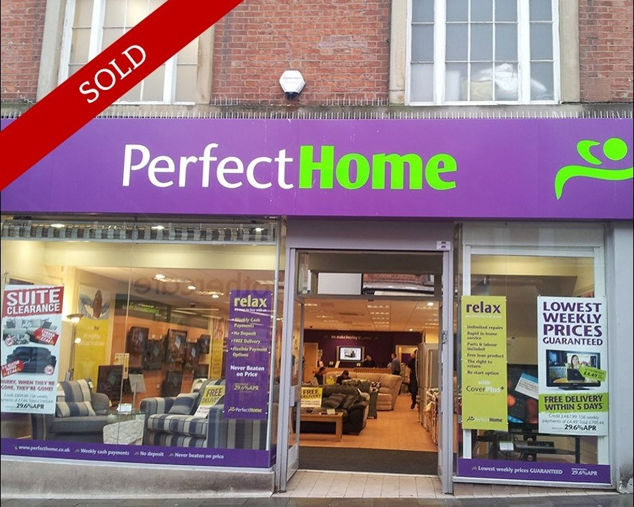 Prime town centre shop over three floors. 5,539 sq ft let to Perfect Home until 2021 at £65,000 pa.